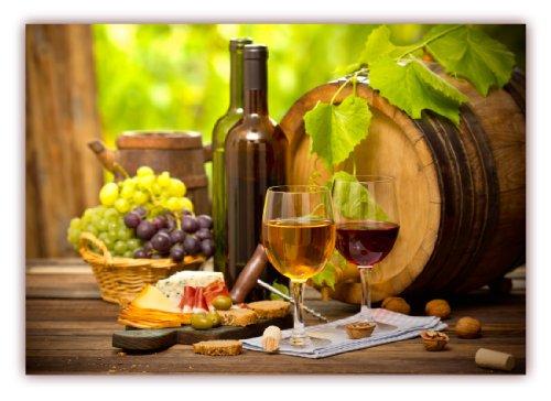 XXL Poster 100 x 70cm (F-223) Wein mit Weintrauben Weinfaß Käse Oliven und rustikaler Tisch (Lieferung gerollt!)