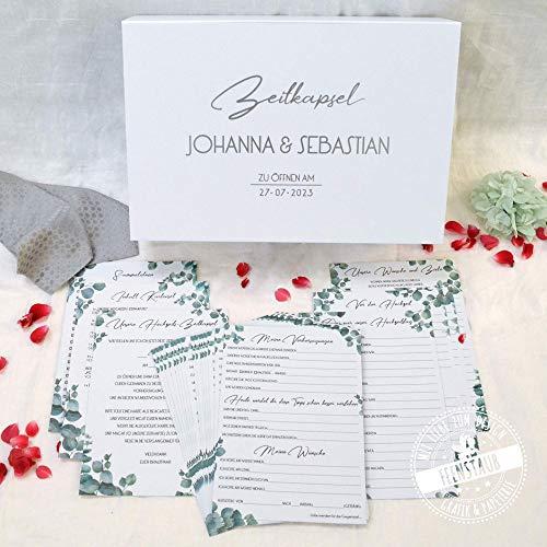 Zeitkapsel-Box Hochzeit mit Karten zum Ausfüllen für Gäste und Brautpaar, Geschenk, personalisierbar