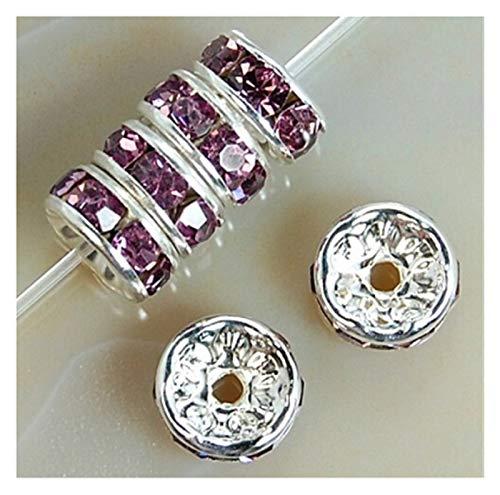 Accesorios de bricolaje 100pcs 6 / 8mm Metal Crystal Rhinestone Spacer Beads para el collar de pulsera DIY Para la fabricación de joyas de pulsera de bricola ( Color : Color 9 , Size : 8mm 100pcs )