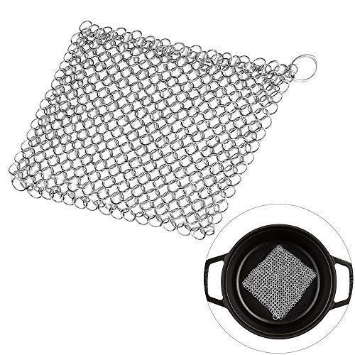 MEEQIAO Almohadilla de Fregado Malla de acero inoxidable Olla Jar Estufa Limpiador de hierro fundido Cepillo de limpieza Esponjas de Hierro Fundido para Utensilios de Cocina (10 * 10cm)