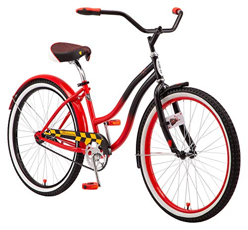Schwinn Disney Queen of Hearts Adult Classic Cruiser Bike, 26-Inch Wheels, Low Step Through Steel Frame, Single Speed, Large Saddle, Coaster Brakes, Black/Red