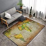 NiYoung Vintage Wall Art World Map Area Rugs, Bedroom Livingroom Sitting-Room Rug, Floor Pad Rugs Standing Mat, Children Play Rug Carpet Spa Bathroom Floor Mats, Throw Rugs Carpet