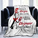 Luomingg Dr Seuss I Will Drink Dr Pepper Here Or There Cozy Soft Blanket Micro Fleece Blanket 50'X40'