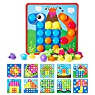 Button Art Toys for Toddlers, Geekper Color Matching Mosaic Pegboard Early Learning Educational Toys for 2 3 4 Year Old Boys and Girls, 10 Pictures and 46 Buttons