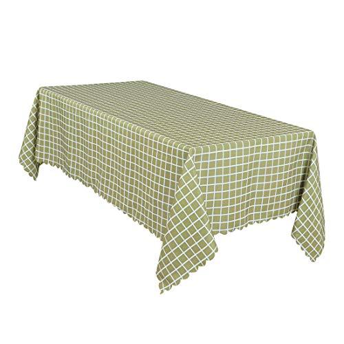 uxcell Home Mantel de Lino y algodón Suave a Cuadros, Mantel de Mesa Resistente al Agua y a Las Manchas, Mantel de 55 x 71 Pulgadas, Cuadros Verdes