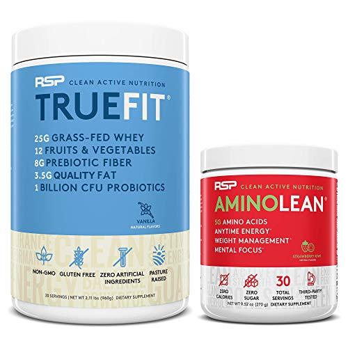 TrueFit Protein Powder (Vanilla 2 LB) with AminoLean Pre Workout Energy (Strawberry Kiwi 30 Servings)