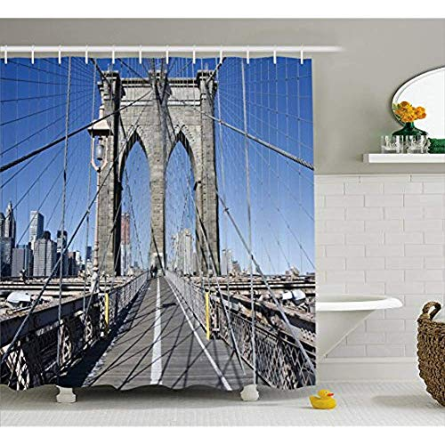 Yeuss Rideau de Douche United States de, Pont Gothique de Brooklyn à New York,Ville célèbre du Paysage Urbain américain,décor de Salle de Bain en Tissu avec Crochets,Gris Bleu Clair 72'x80'