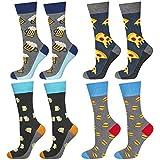soxo Herren Bunte Socken | Größe 40-45 | 4er Pack | Baumwolle Männersocken mit Lustigen Motiven | Perfekt für Hohe & Flache Schuhe | Tolle Ergänzung für Ihre Garderobe | Bierx2/Pizza/Burger
