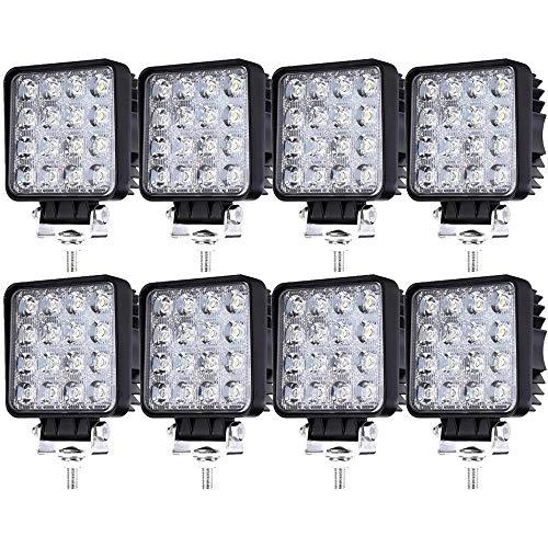 Lot de 8 Phares de Travail à LED 48W 12V 24V 6500K Feu de Recul SUV UTV ATV