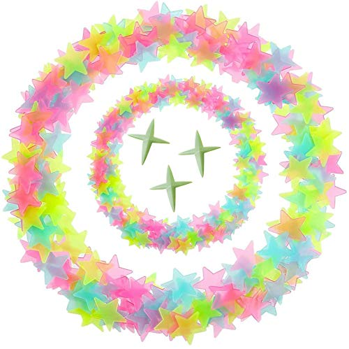 Eachbid Adesivi da Parete Fluorescenti 3D 250pz Stelle per Soffitto Decorazione Colorato per Camera da Letto Bambini
