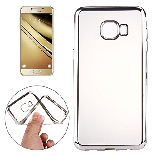 Anti-Fall Phone Case for Samsung Galaxy A9 / A900 Electroplating Transparent Soft TPU Protective Cover Case Shock Absorption Cover Phone Cover (Color : Silver)