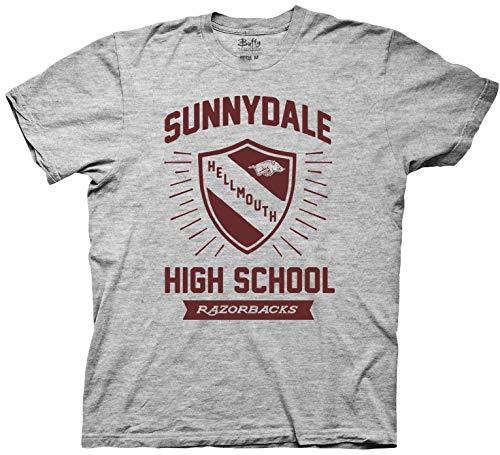 Ripple Junction Buffy The Vampire Slayer Adult Unisex Sunnydale Shield Light Weight Crew T-Shirt SM Heather Grey