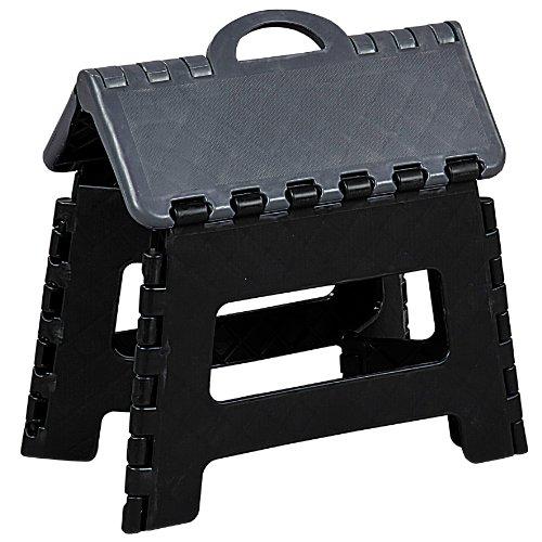 Kesper Faltbarer Klapptritt aus Kunststoff, 70527, Maße: 35x27x22 cm, schwarz, ca. 35 x 27 x 22 cm