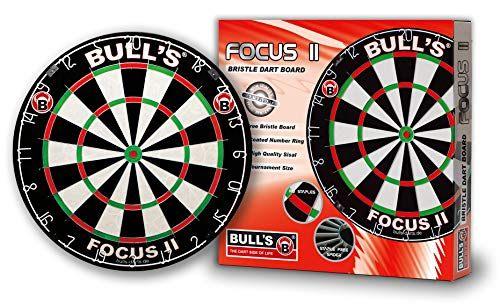 Bulls Darts Focus II Bristle Board, Black/White/Red/Green, 45,7 cm