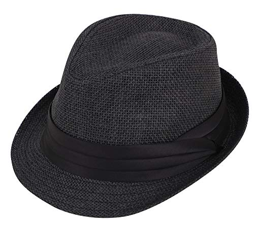 Simplicity Fedora Hats for Men Women Summer Short Brim Straw Fedora Ha, Black SM