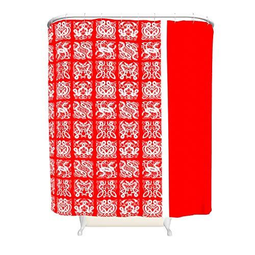 Gamoii Weißes Rotes Wikinger Tattoo Duschvorhang Bad Gardinen 3D Druck Dusche Vorhang Badezimmer Decor Shower Curtain mit Ringe White 180x180cm