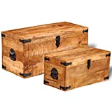 Festnight Mango Wood Storage Chest Box Wooden Trunk Case Cabinet Container with Handles for Bedroom Closet Home Organizer Collection