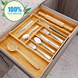 Best Flatware Silverware Kitchen Drawers - Hamonical Kitchen Bamboo Drawer Organizer, Cutlery Tray Desk Review
