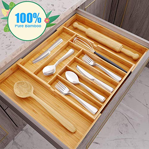 Hamonical Kitchen Bamboo Drawer Organizer, Cutlery Tray Desk Drawer Organizer Silverware Holder with Grooved Drawer Dividers for Flatware and Kitchen - 100% Pure Bamboo Cutlery (Nature)