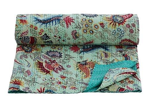 Colcha de algodón kantha india hecha a mano hippie Gypsy Vintage tamaño King Kantha colcha edredón juego kantha manta dormitorio sala de estar decoración vintage Kantha edredón sofá cama manta