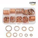 Cisixin 150Pcs Metric anillo de la forma de cobre arandela plana,15 Tamaños Juego De Surtidos Con Caja