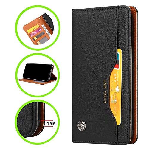 Hülle für Huawei P40 Pro,Handyhülle Vintage Leder,Bracket-Funktion,Kartensteckplatz Brieftasche Design,Hochwertiges PU-Leder,Magnetschnalle(schwarz)