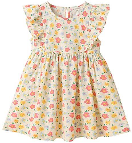ZRFNFMA Vestido floral para niñas de algodón para niños grandes, falda de verano, estilo pastoral, vestido de princesa para niños, amarillo 160 cm