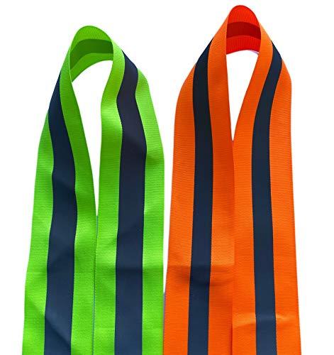 Reflecterende band voor veiligheidskleding, broeken, jassen per meter om vast te naaien, 300 cm, oranje/neongeel, 300 cm neongeel/zilver, 1