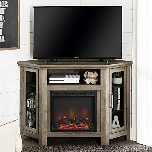 Lucas 48 inch Corner Fireplace TV Stand in Grey Wash
