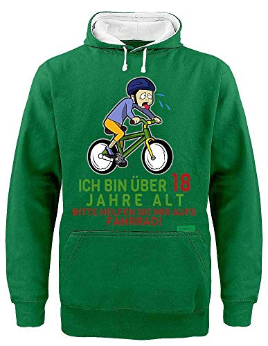 Sudadera con capucha de Hariz con contraste de 18 Bitte Helfen Sie mich aufs bicicleta 18 cumpleaños 18 cumpleaños 18 cumpleaños 18 años 18 Plus tarjetas de regalo Verde / blanco L