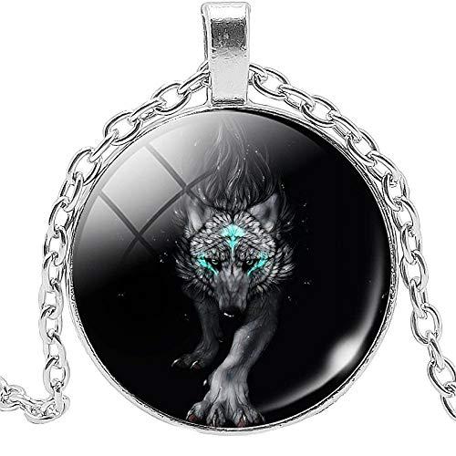 Collar Colgante Snow Mountain Wolf Collar Joyas Colgante Cristal Convexo Redondo Cristal Collar Regalo B
