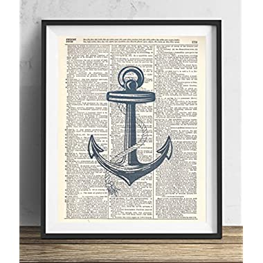 Blue Anchor Vintage Upcycled Dictionary Art Print 8x10