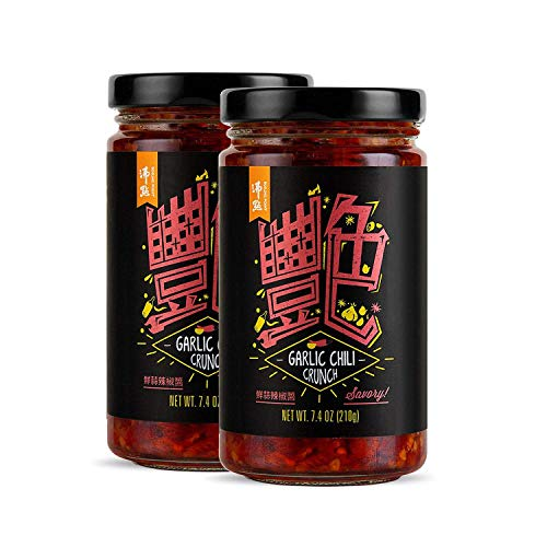 BOILING POINT Garlic Chili Crunch, Spicy and Crunchy Asian Cooking Sauce, Crispy Dipping Sauce, Hot Seasoning Condiment for Making Mapo Tofu, Pork Belly, Ribs, and Vegetables, 7.4 oz.(Pack of 2)