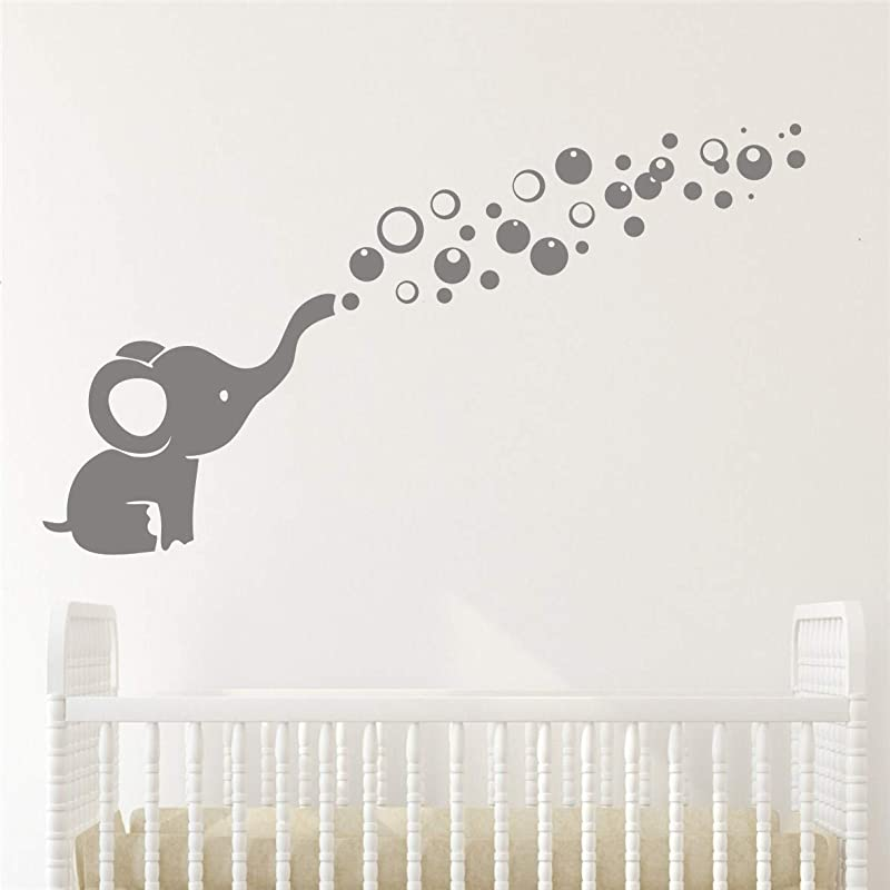 Removable Nursery Room Wall Decor Cute Elephant Blowing Bubbles Wall Decal Art Vinyl Wall Decor Sticker For Baby Bedroom Gray