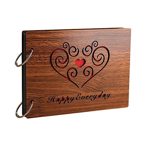 Jia HU vintage Wood DIY Autocollant Photo Album photo anniversaire de mariage Scrapbooking albums de stockage de mémoire livre Cadeau Happy every day