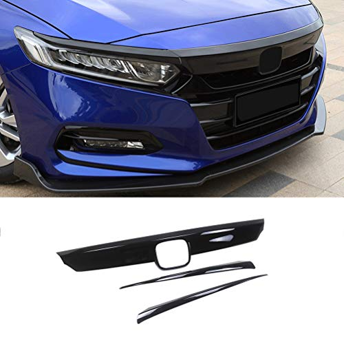 NINTE Grill Covers for 2018-2020 Honda Accord, ABS Gloss Black Front Bumper Hood Grille Cover W/Eyelid Molding Trim