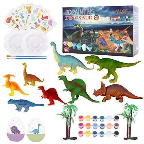 Ulikey Kit Juguetes de Dinosaurios de Pintura, DIY Dinosaurio Pintar Juegos para Niños, Figuras de Dinosaurio 3D Creativo Dinosaurio Manualidades Creativo Juguete Cumpleaños Navidad Regalo (Color 2)