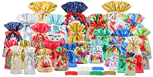 GiftMate 70pc Christmas Drawstrings Gift Bag Set (32 Gift Bags, 32 Gift Tags, and 6 Message Tags)