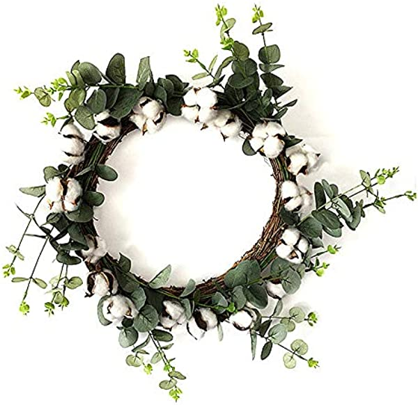 Pannow Cotton Wreath Decor Fake Eucalyptus Green Leaves Wreath With Full White Fluffy Cotton Bolls For Farmhouse Decor Front Door Window Wall Wedding Centerpiece 20 5in