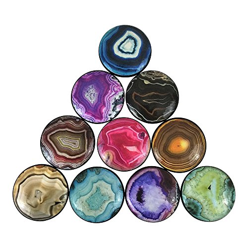 Set of 10 Geode Print Wood Cabinet Knobs