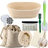 10 inch Oval Natural Rattan Bread Proving Basket Set Bortform Bannetons Basket Proving Bowl Bread Proofing Basket with Linen Liner Bread Plastic Cutter Linen Storage Bag 25x15x8cm Hold 500g Dough