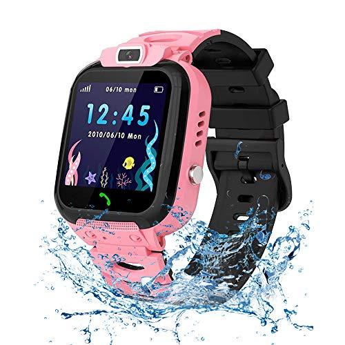 Vannico Smartwatch Kinder Wasserdicht IP68, Kinder Intelligente Uhr mit LBS SOS Kids Smart Watches Phone Touchscreen Spiel Anruf Voice Chat Digitalkamera für Jungen Mädchen Student Geschenk (Rosa)