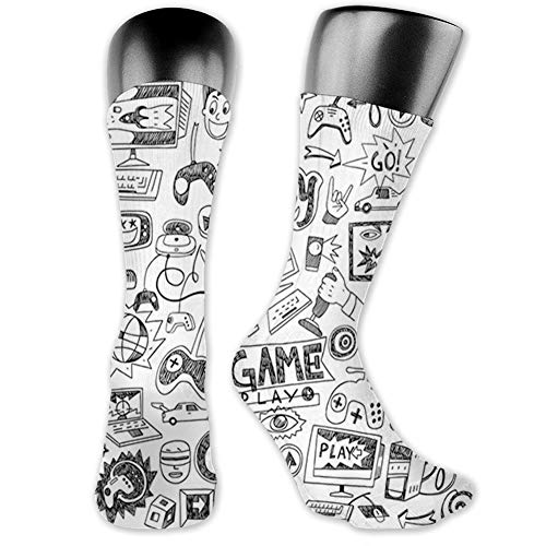 Ingpopol Medium long Crew Socks,Video Games,Monochrome Sketch Style Gaming Design Racing Monitor Device Gadget Teen 90's,Unisex 15.7