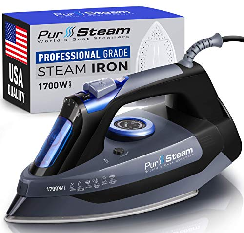 Professional Grade 1700W Steam Iron for Clothes with Rapid Even Heat Scratch...