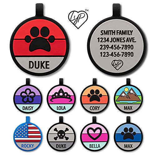 Love Your Pets Soundless Pet Tag - Designer Deep Engraved Silicone – Double Sided and Engraving Will Last - Many Design Choices of Pet ID Tags, Dog Tags, Cat Tags (Red, Paw)