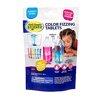 Steve Spangler Science - WTIN-100 Color Fizzers 100 Tablets – Assorted Colors  Red Yellow & Blue  – Colorful Science Experiment Kit for Kids Won't Stain Hands or Surfaces Exciting STEM Activity