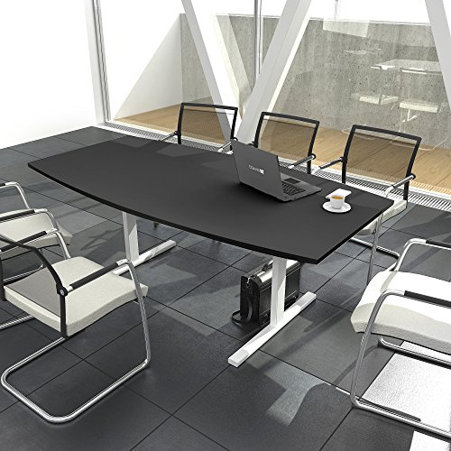 Weber Büro Easy Konferenztisch Bootsform 180x100 cm Anthrazit Besprechungstisch Tisch, Gestellfarbe:Weiß