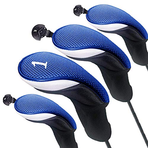 FINGER TEN Golf Club Head Covers for Woods Long Sock Driver Hybrid Fairway Value 345 Pack Headcovers with Interchangeable No Tag Durable Color Blue Black Red Fit Woods Clubs Blue 4 pack 112