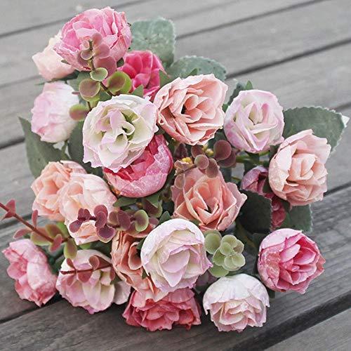 Barley33 21 Cabezas Artificiales Flores Seda Rosa