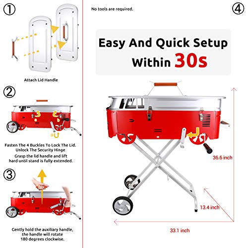 Starwide go Charcoal Grill in Backyard & Garden, 30s Quick Set-up Barbeque Grill, Portable Grill and Tabletop BBQ Grill for Outdoor Cooking, Cover and A Small Table, BBQ Fan, Tools, Fry Pan Included